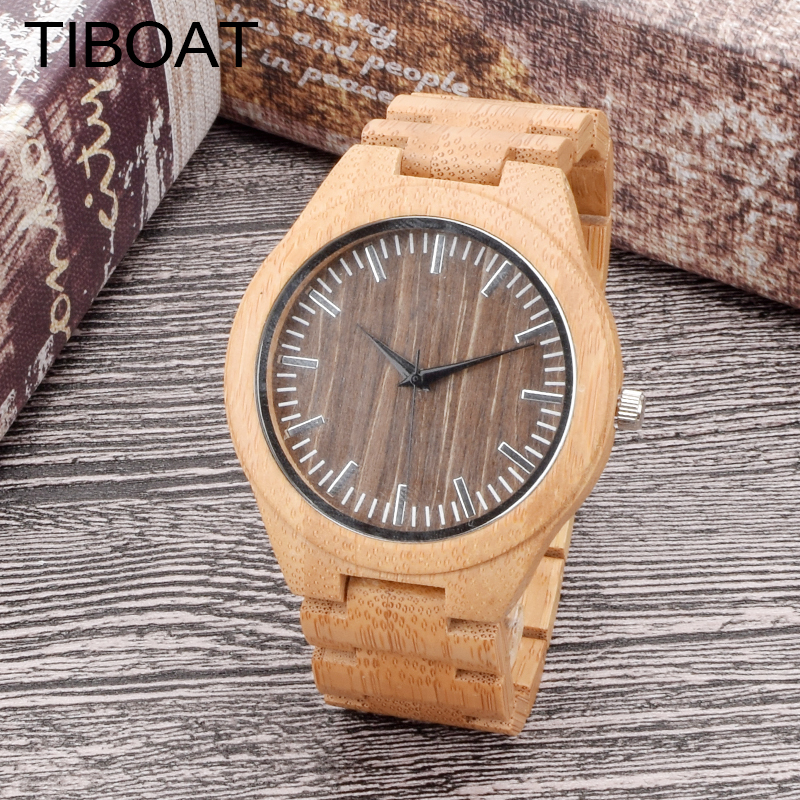TIBOAT Wooden Wristwatch Mens Brand Design Bamboo Stripe Dial Quartz Watch Casual Male Wood Strap Available in Gift Box new world map mens genuine leather quartz watch wood bamboo male wrist watch luxury brand reloj de madera genuine with gift box