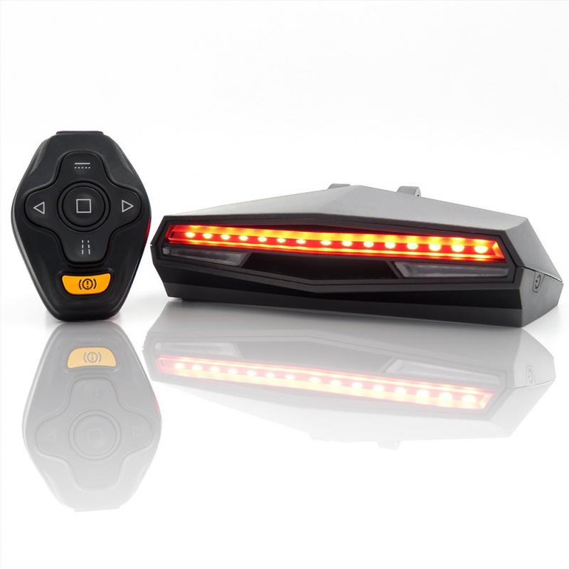Wireless Bike Tail Light Smart USB Rechargeable Cycling Accessories Remote Turn Led Bicycle Rear Light Laser Signal