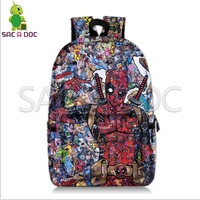 Deadpool Avengers Collages Backpack Superhero School Bags for Teenage Girls Boys Fans Daily Backpack Kids Book Bag