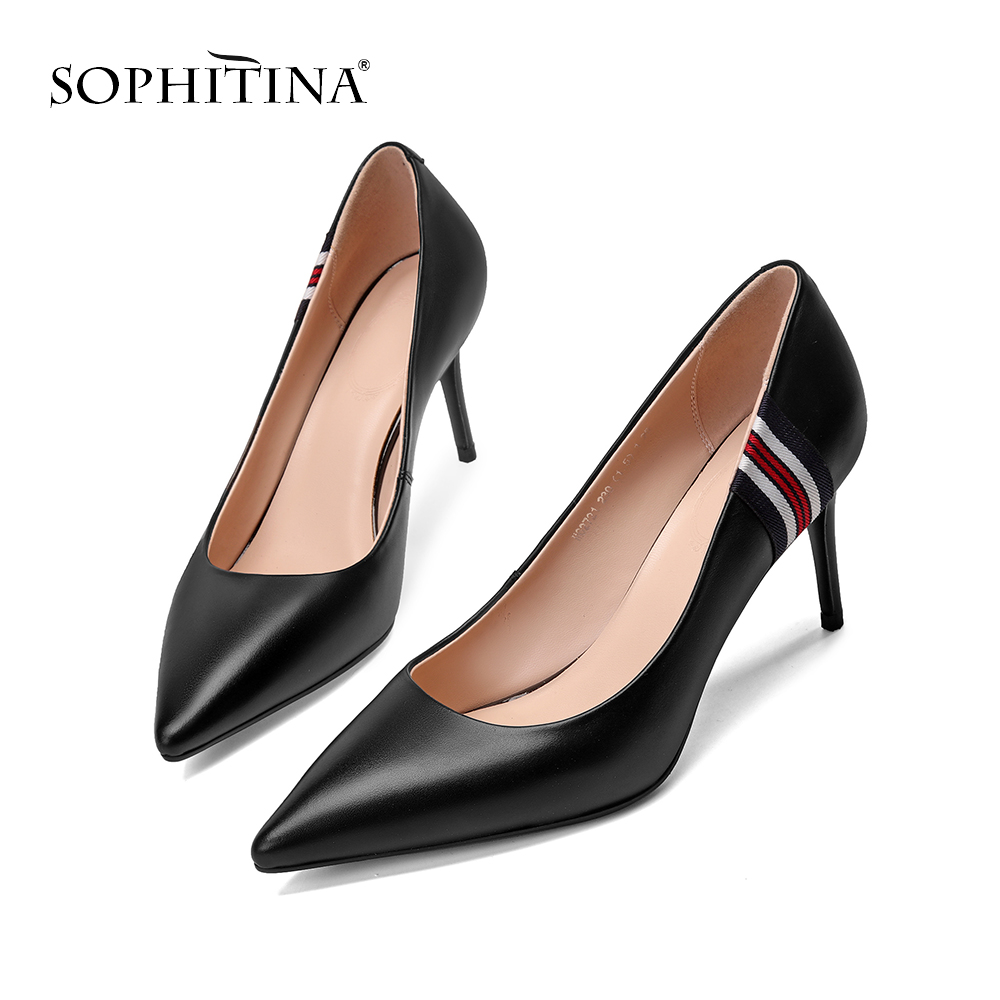 SOPHITINA Fashion Shallow Pumps Pointed Toe Sexy Thin Heels Comfortable Genuine Leather Shoes Elegant Career Design
