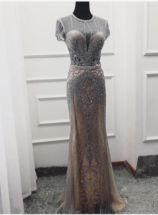 Дубай темно-синий цвет без рукавов элитное вечернее платье с круглым вырезом Diamond сексуальное вечернее платье Serene Hill LA60742 - Цвет: grey