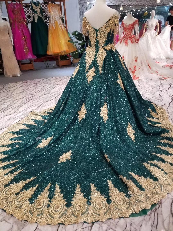 2019 Vintage longue robe de bal paillettes brillant or délicate Appliques robe de bal vert foncé (Blings tomber est Normal) pour la fête - 4