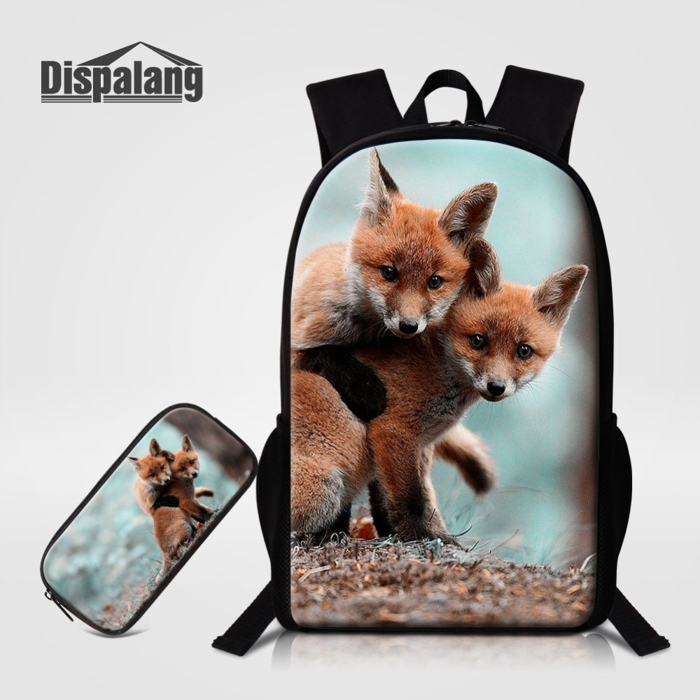 Fox Animal Prints School Bags For Student Bookbags Children Large Capcity Backpack To School Boys Cool Bagpack Men Daily Mochila