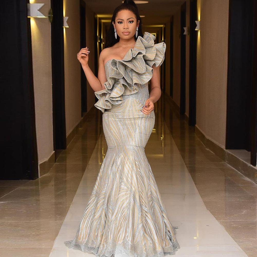 Sparkly Mermaid 2019 African   Prom     Dresses   One Shoulder Sequined Mermaid Evening   Dress   Chic Ruffles Formal Party Pageant Gowns