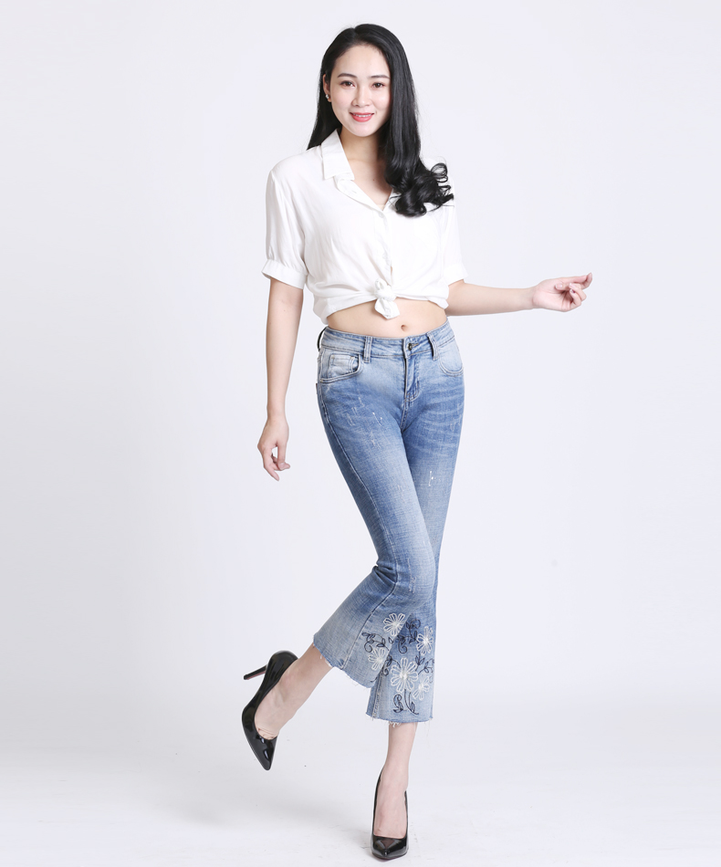 KSTUN Women Jeans with Emboridered Retro Blue Stretch Flare Pants Boot Cut High Waist Gloria Jeans Vintage Plus Size Femme Mujer 12