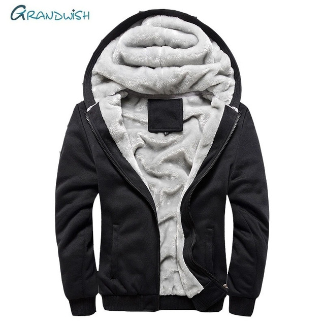 Grandwish New Men Jacket Winter Thick Warm Coat Fleece Zipper Mens Jacket Hoodies Coat Sportwear Male Streetwear Plus Size,DA877