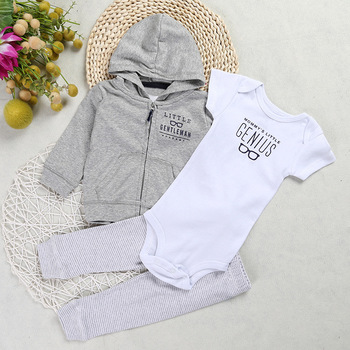Newborn Baby boy Girls Clothes,3PCS/set,Hooded long Sleeve Coat floral+Bodysuits+Pants,autumn winter infant baby outfit 6-24Mont