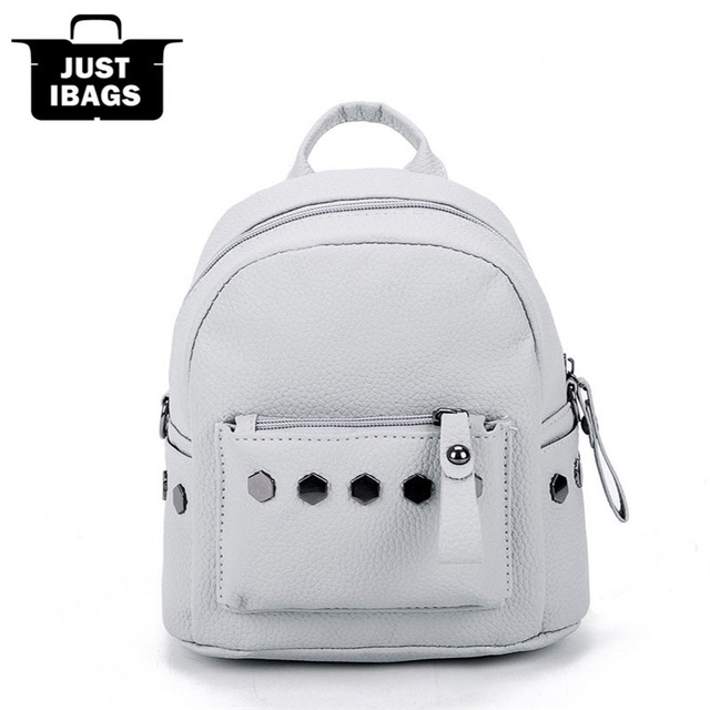 f5ea39c02124 Fashion rivet PU leather women Casual Mini Backpack double Shoulder bags  children girls school bags Brand