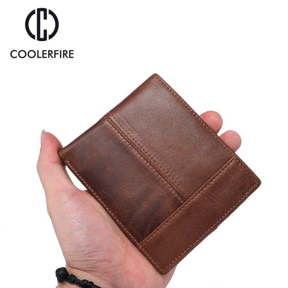 Purse For Men Genuine Leather Men's Wallets Thin Male Wallet Card Holder Cowskin Soft Mini Purses  PJ002