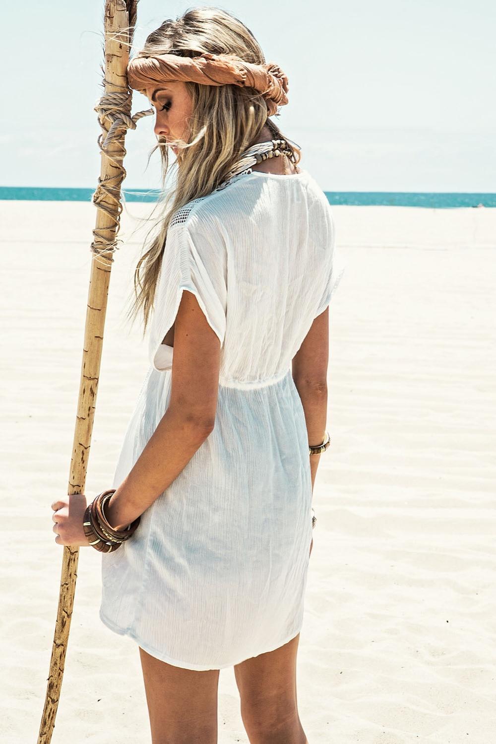 2af5f339bd5 White Short Sleeve V Neck Cotton Beach Caftans