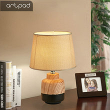 Artpad Modern Table Lamps for Bedroom Living Room Decorative Lights in Home Decoration With Fabric Lampshade and EU/US Plug In