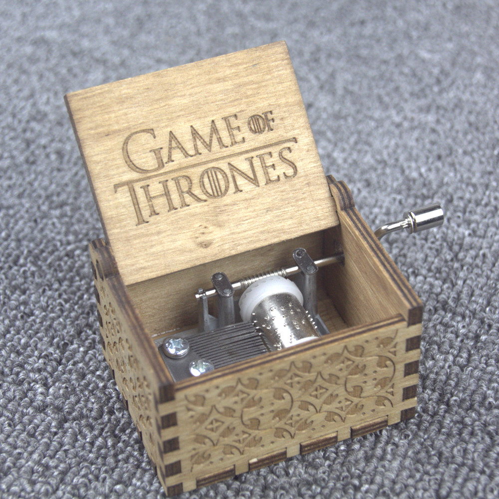 Game of Thrones Winter is coming House of Stark Theme Handmade Engraved Wooden Music Box Crafts Cosplay Xmas Gifts