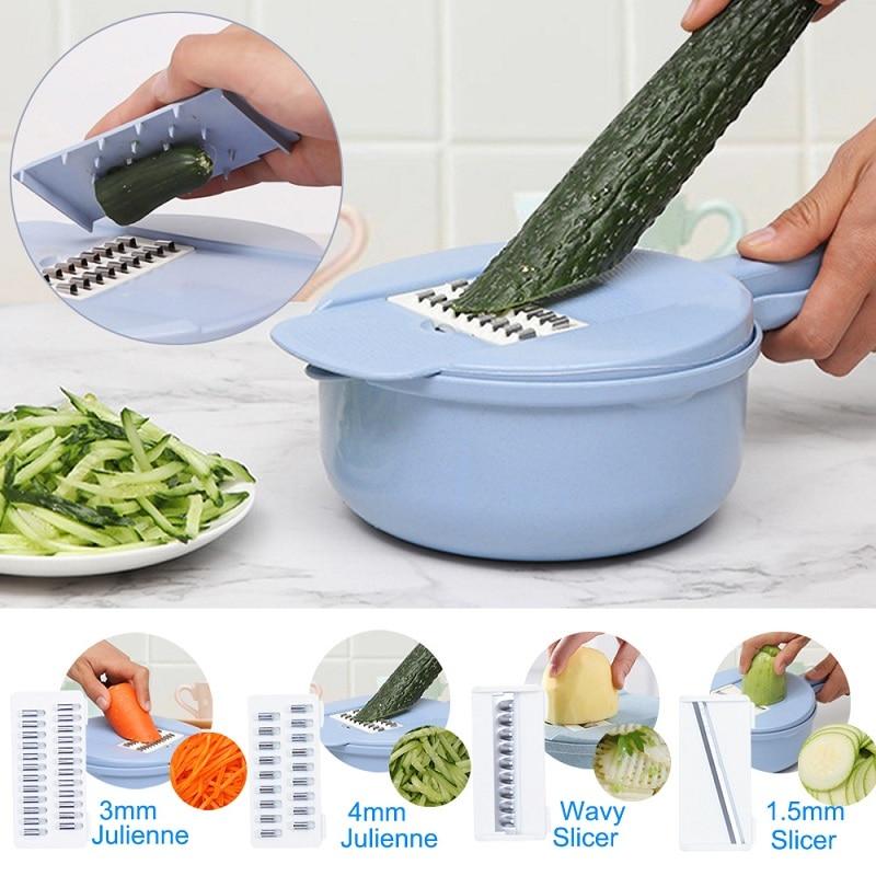 1 Pcs Multifunktionale Lebensmittel Chopper Slicer Dicer 9 In 1 Gemüse Chopper Cutter Weizen Stroh Pp + Edelstahl 29*9,5*18,8 Cm
