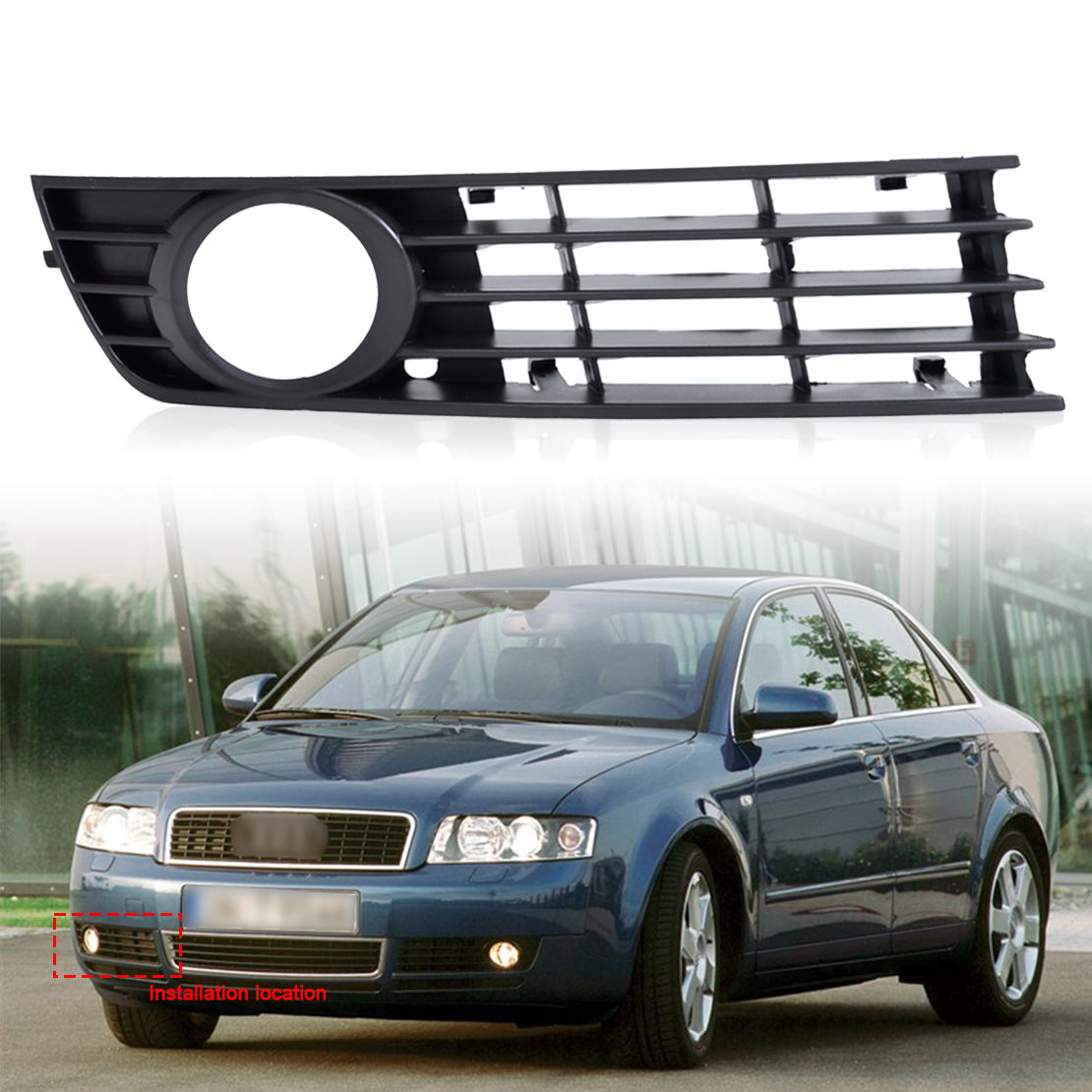 DWCX 8E0807682 Front Right Insert Bumper Fog Light Grille Protective Mesh for Audi A4 B6 2002 2003 2004 2005