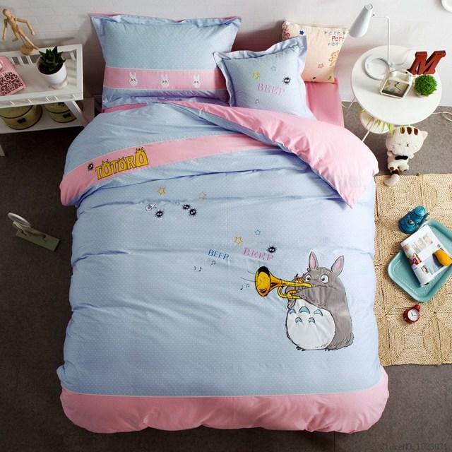 4 Stucke Totoro Sticken Druck Bettwasche Set Jungen Madchen