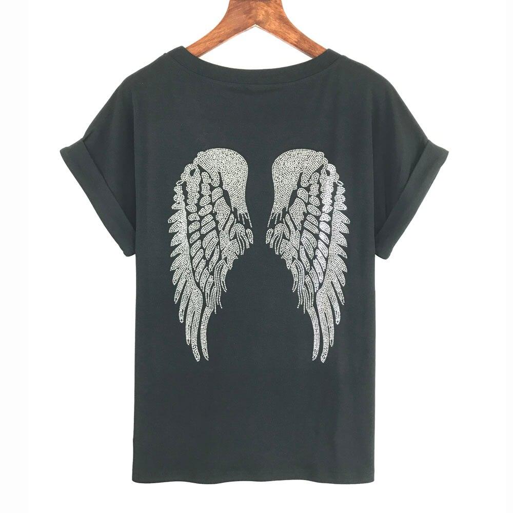 2017 punk rock t shirt women wing sequins sequined t shirt women top tee shirt femme tops tees. Black Bedroom Furniture Sets. Home Design Ideas