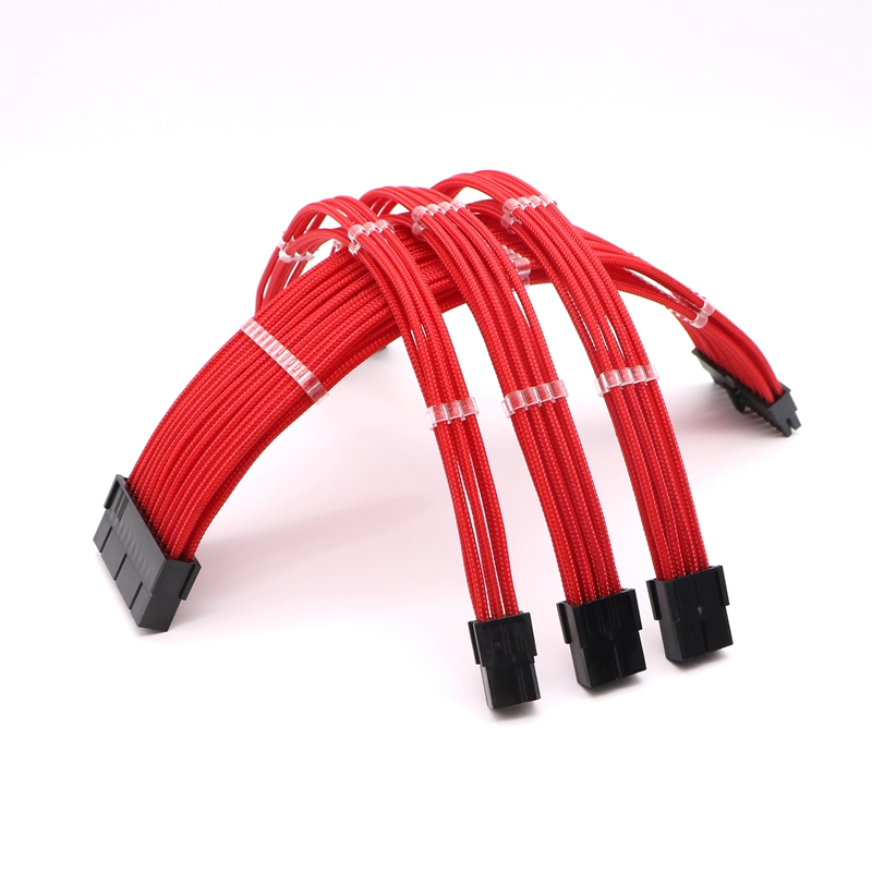 Basic Extension Cable Kit - 180 Degree Single Sleeved ATX 24Pin/ 4+4Pin, PCI-E 6+2Pin/ 6Pin Power Extension Cable. basic extension cable kit 180 degree single sleeved atx 24pin 4 4pin pci e 6 2pin 6pin power extension cable