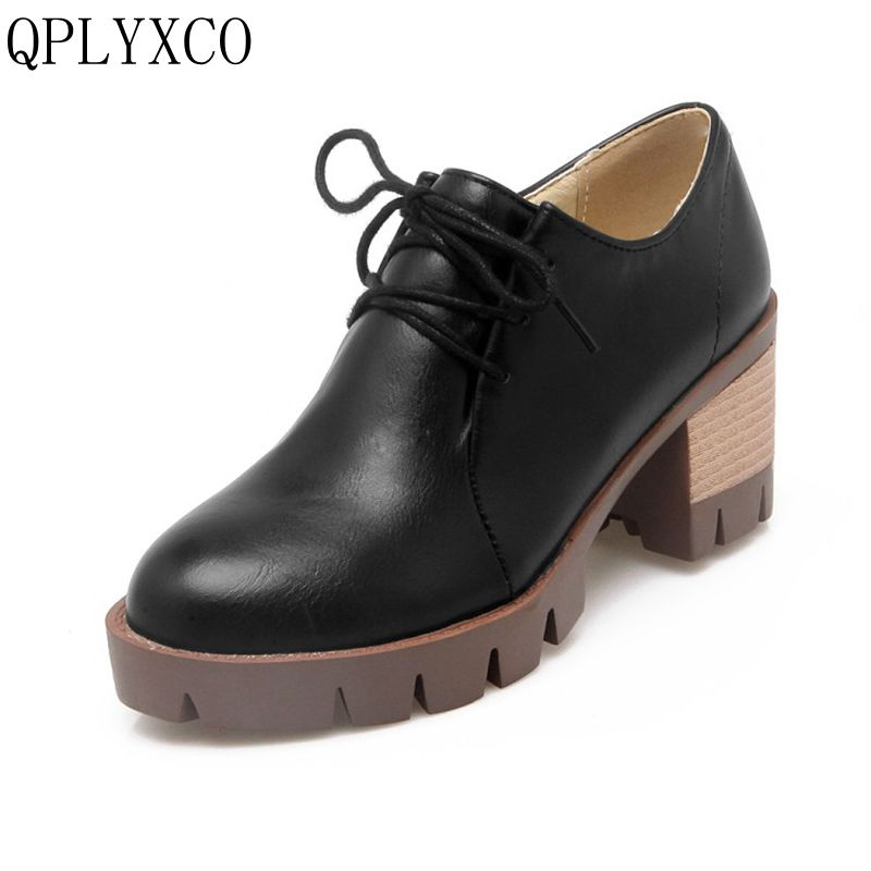 QPLYXCO New Retro plus big size 34-43 women shoes high heels sapato feminino platform shoes Lace up casual zapatos mujer C8-7 women genuine leather shoes for mother loafers new casual oxfords plus size soft comfortable flats sapato feminino zapatos mujer