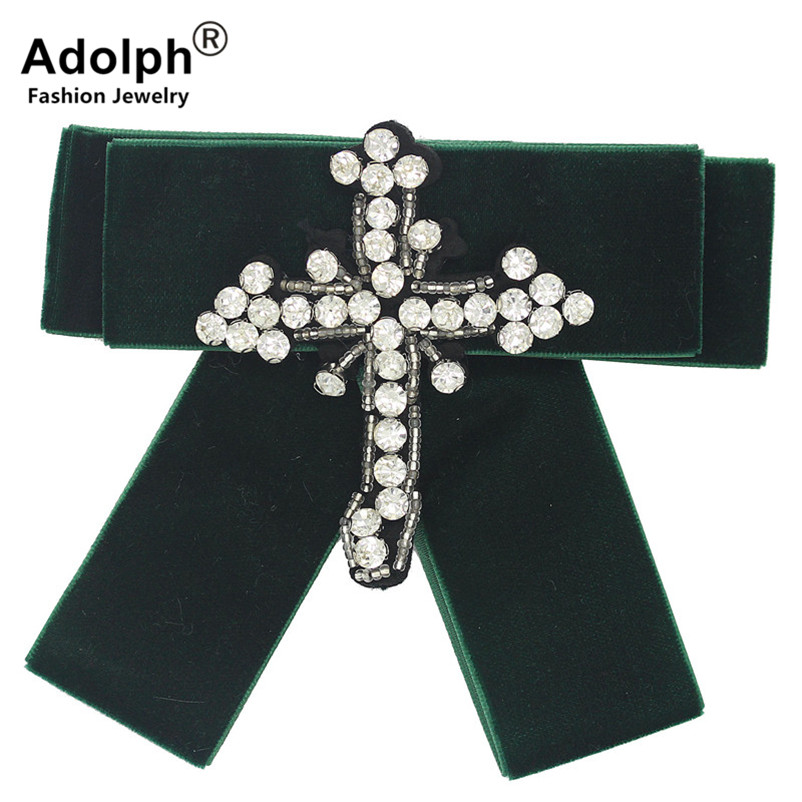ADOLPH Punk Bow Crystal Cross Brooch Pins Woman Jewelry Clothers Handmade Dress Bride Broochs Fashion Accessories Female New HOT