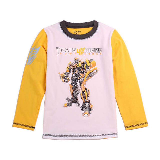 Bumblebee quente das Crianças roupas de Verão do bebê das meninas dos meninos Camisetas 100% algodão de manga longa top t shirt para as crianças t camisas 2 T-7 T
