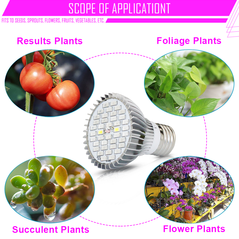 Image 3 - LED Phyto Lamp Full Spectrum 30W 50W 80W E27 LED Grow Light Fitolampy Bulbs 5730 SMD 28 40 78 120LEDs Lamp For Plants Seeding-in LED Grow Lights from Lights & Lighting