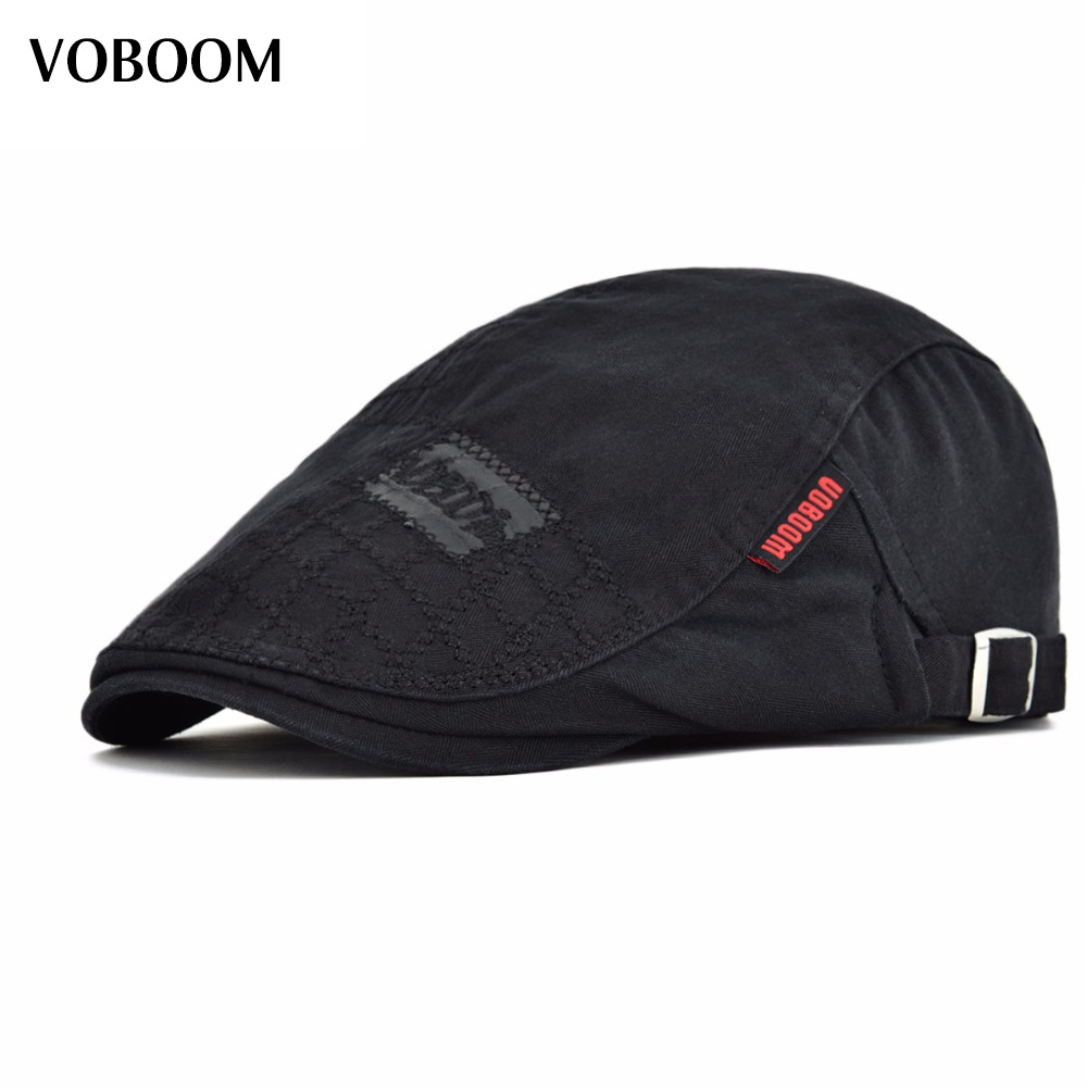 VOBOOM Black Cotton Beret Men Women Casual Solid Ivy Flat Cap Large Head Size Adjustable Boina Hats 100