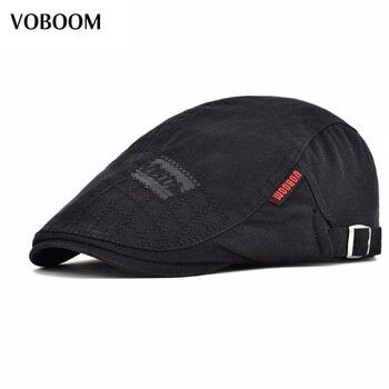 VOBOOM Boina de algodón negro hombres mujeres Casual sólido hiedra plana tapa grande tamaño de la cabeza ajustable Boina sombreros 100