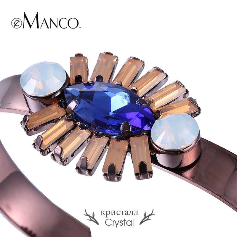 EManco Viola di Cristallo Del Polsino Braccialetti Mosaico Colorato Rotondo In Metallo del Braccialetto Del Nuovo di Arrivi Monili