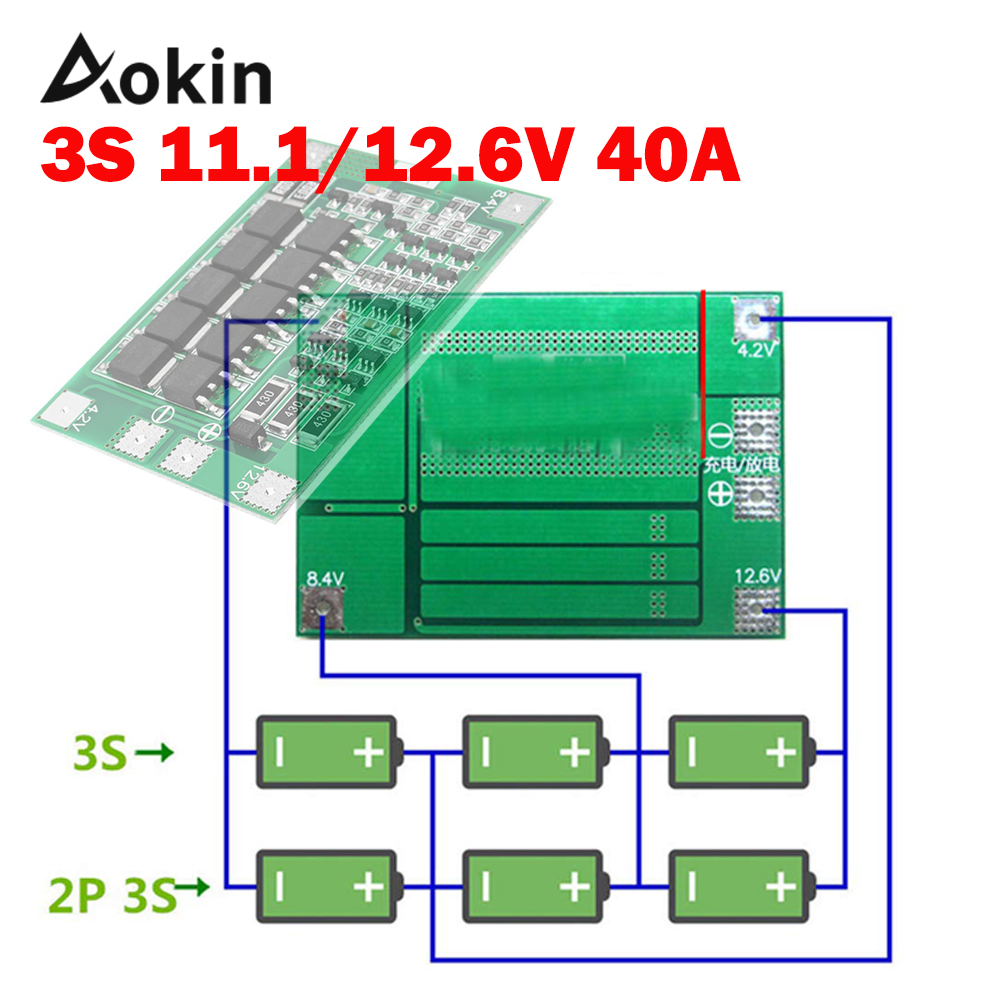 3S 40A BMS 11.1V 12.6V 18650 lithium battery protection Board with Enhance/balanced Version for drill 40A current diy kit Aokin(China)