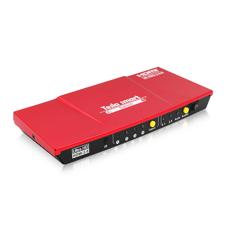 Tesla smart HDMI 3840*2160@60HZ The Fast Switch 4 In 1 Out HDMI Switch 4x1 with Audio Output Support HDTV 4K@60Hz 4:4:4 4 port 4k hdmi audio switcher 4x1 hdmi switch support 4k2k arc edid spdif 4 in 1 out hdmi converter adapter with optical output