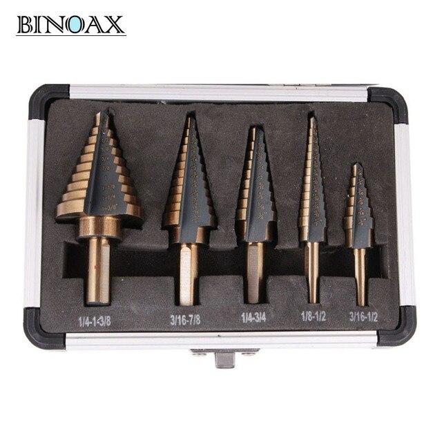 Binoax 5pcsset hss cobalt multiple hole 50 sizes step drill bit set binoax 5pcsset hss cobalt multiple hole 50 sizes step drill bit set w greentooth Image collections