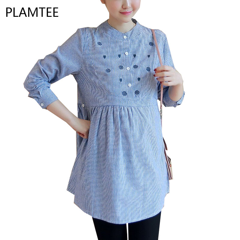 Elegant Embroidered Gestantes Shirt Fashion Stripe Maternity Shirts Plus Size Clothes For Pregnant Women Long Sleeve Blue Blouse