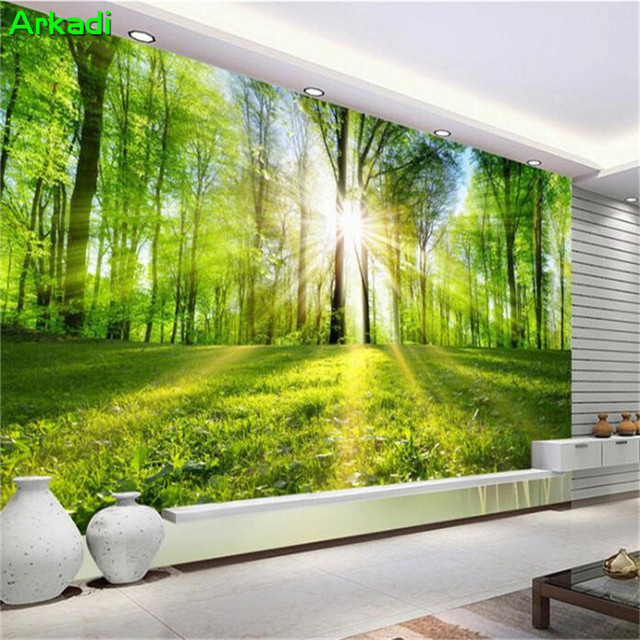 Us 10 23 45 Off Custom 3d 3d Wallpaper 5d Green Sunny Forest Nature Landscape Mural Custom Painting Woods Parlor Tv Background Wall Bedroom Sofa In