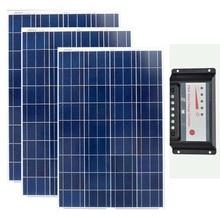 Solar Panel 12v 100w Polycrystalline 3Pcs Kit 300w Chargeur Solaire Batterie Charge Controller 12v/24v 30A Caravan