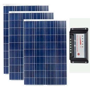 Solar Panel 12v 100w Polycrystalline 3Pcs Solar Kit 300w Chargeur Solaire Batterie Solar Charge Controller 12v/24v 30A Caravan