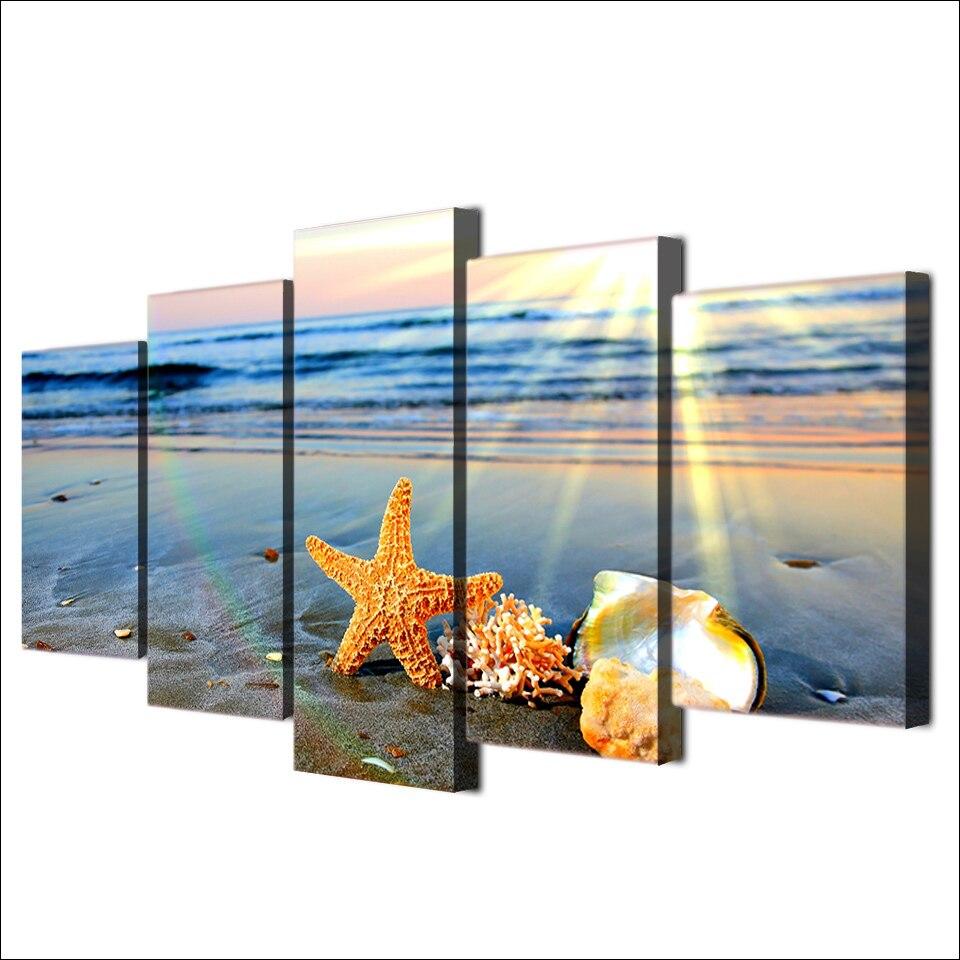 5 Paneles Moderna Decorativa Casera Enmarcado Pared Carteles Playa ...