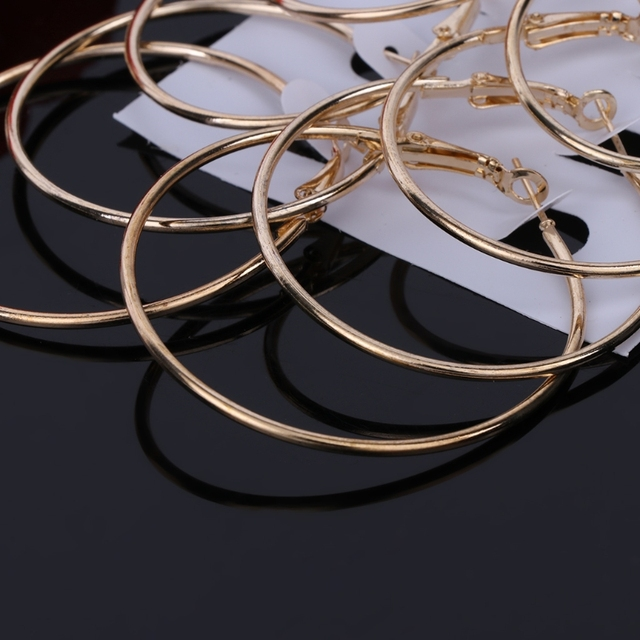 6Pairs/set Gold Silver Circle Earrings 5