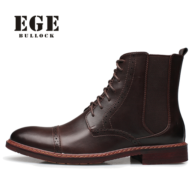 EGE British style New arrival Fashion Men Boots Autumn Genuine Leather Leisure Bullock Lace-up Pointed Toe Ankle Shoes for Men
