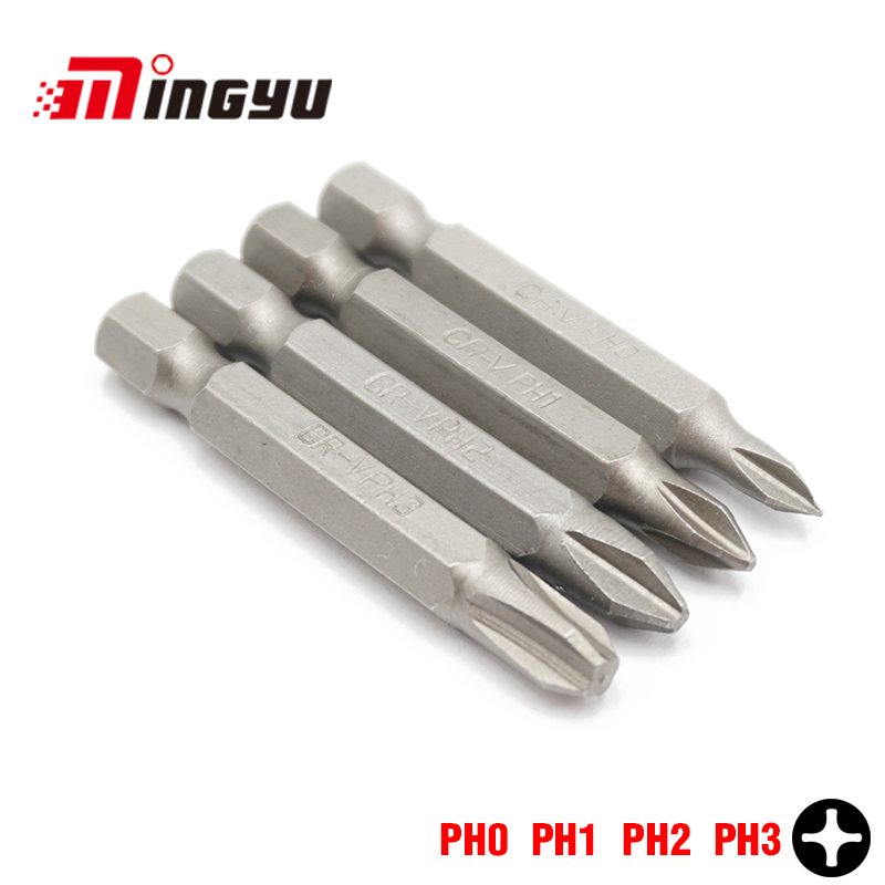 4Pcs 50mm Long Phillips Electric Screwdriver Bit Set Household Repair Tools 1/4