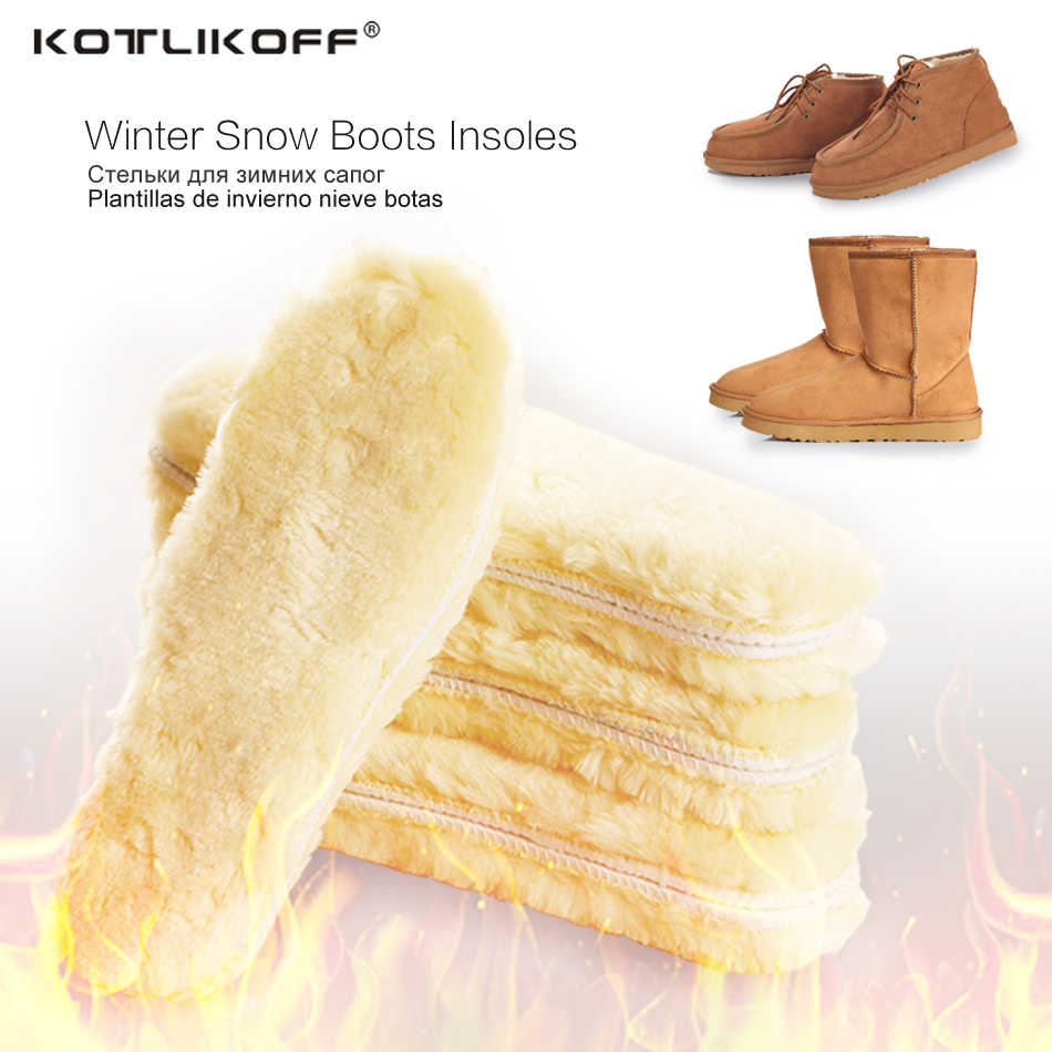 KOTLIKOFF WARM Heated Insoles Soles สำหรับรองเท้าฤดูหนาวหนาอุ่น Insoles ขนสัตว์เทียม Breathable หิมะรองเท้าบูท Insoles Pad