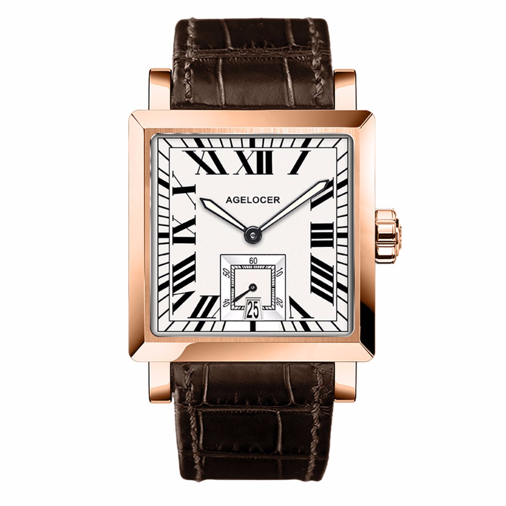 Agelocer Square Fashion Watches Mens Rose Gold Analog Automatic Watches Genuine Leather Strap Luxury Watches Waterproof 3302D2 gold sliver leather analog fashion