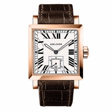 Agelocer Square Fashion Watches Mens Rose Gold Analog Automatic Watches Genuine Leather Strap Luxury Watches Waterproof 3302D2