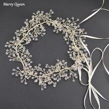 New Fashion Crystal Bride Wedding Headband Handmade Princess Silver Head Jewelry Ladies Hairband Accessories