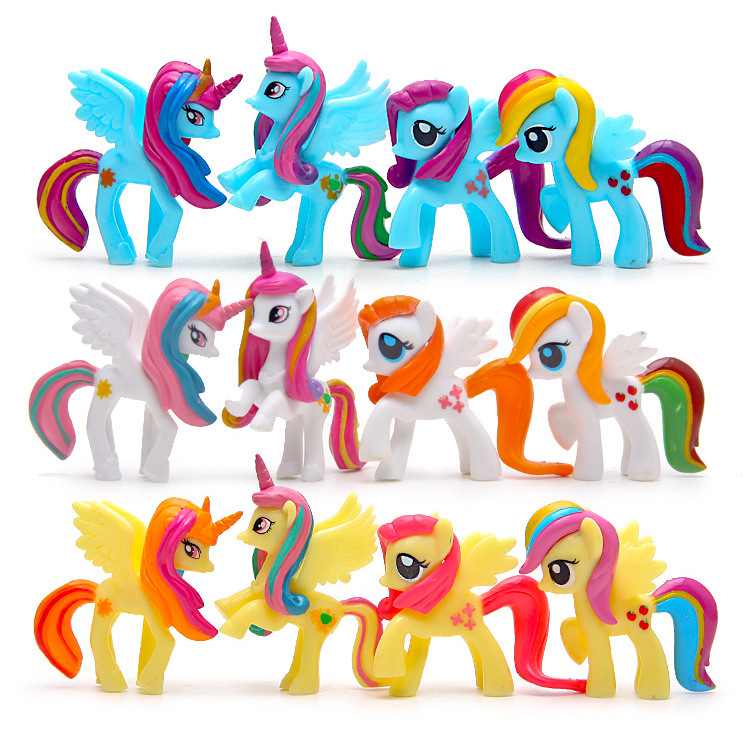 4pcs/set 2017 new Big Pony girl toy Little Horse Action Figure Collection Rainbow Dash Pony Kids Toys Set Miniature Model brand new animals action figure toys mother wild horse 12cm length pvc figure model toy for gift collection kids school study