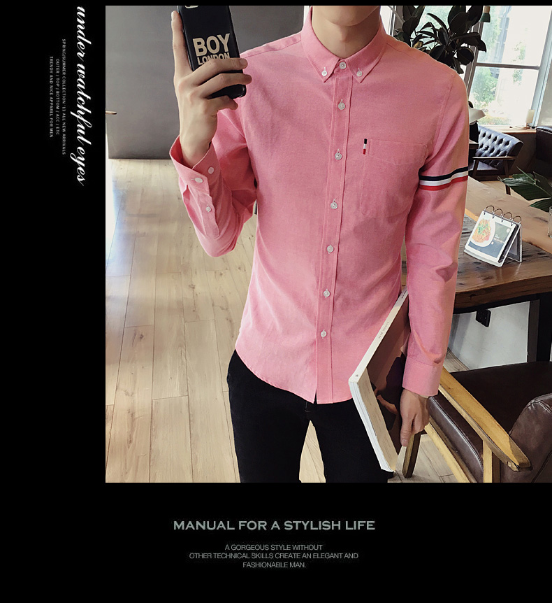 2017 New autumn men's casual tops brand shirt striped Strip decorate cotton men fashion solid color long sleeved Shirts M-XXXL 81
