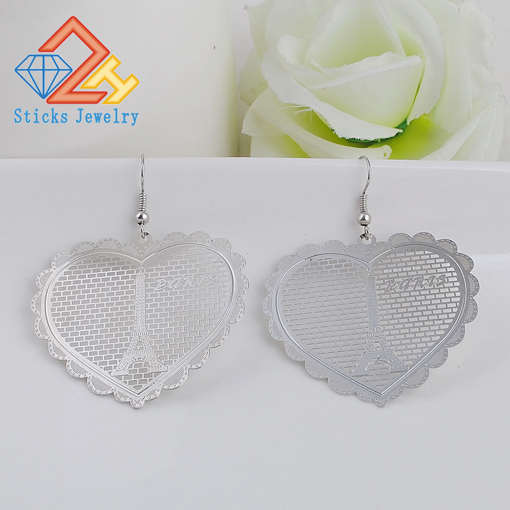 Drop Earrings Environmentally Friendly Material Heart-shaped Computer Chip White K Lady Earrings