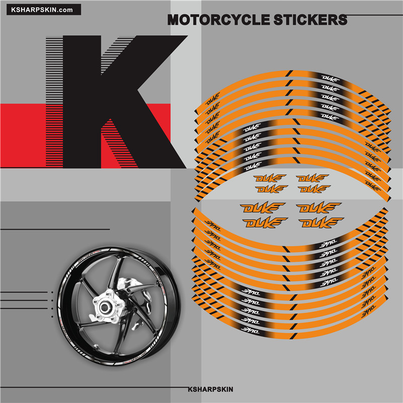 HOT Motorcycle tyre <font><b>Sticker</b></font> inner rim reflective decoration decal for ALL <font><b>KTM</b></font> <font><b>DUKE</b></font> 125 250 690 <font><b>790</b></font> image