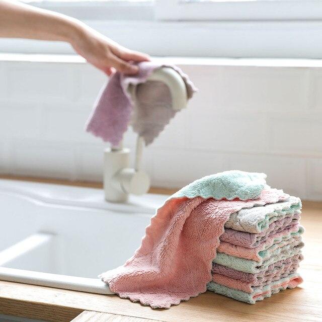 שמן Nonstick יד תלויה קטיפה אלמוגים רכה עדין מגבות ידי מגבות אמבטיה מטבח מטלית להדחת כלים שרוך עיצוב 10Jun 25