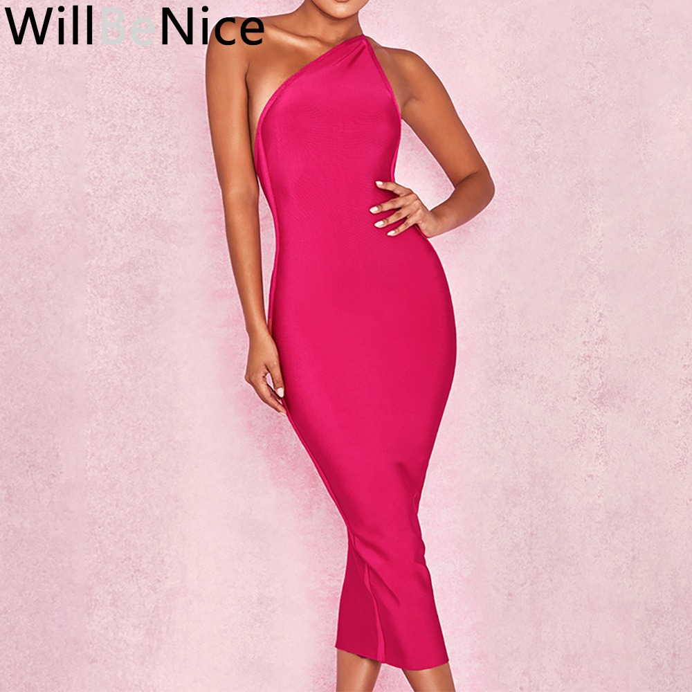b55a5588b48 WillBeNice Hot Pink 2018 New Elegant One Shoulder Halter Sleeveless Dress  Celebrity Party Women Fashion Long