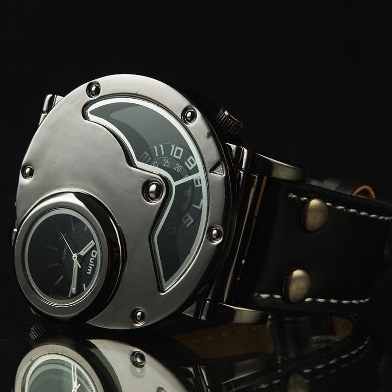 Aviator Pilot Wrist Watch w/ Dual time, black leather 1